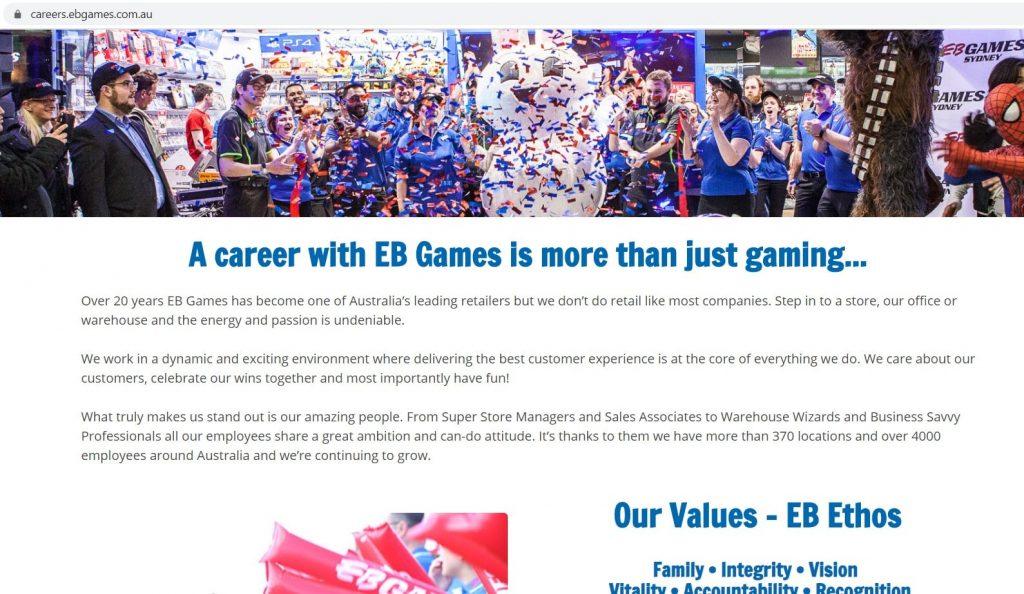 Eb Games Job Application Form Online Careers Australia