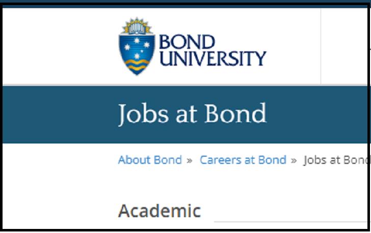 Bond University Job Application