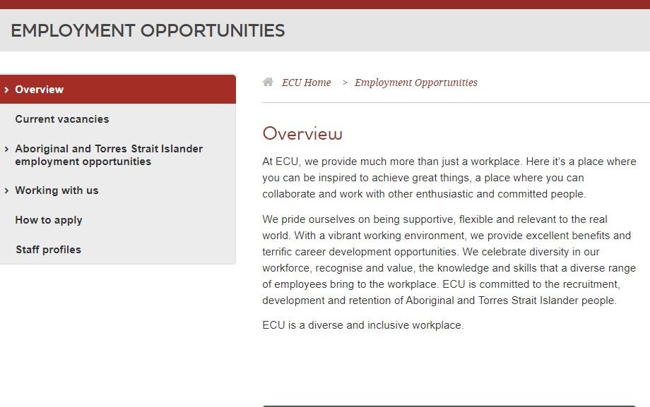 Edith Cowan University Job Application