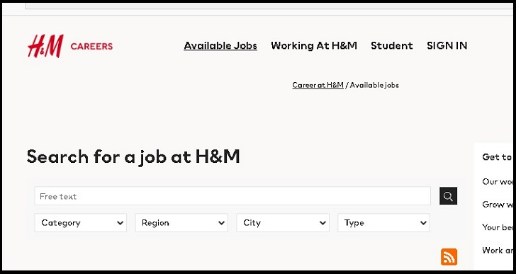 H&M Job Application Form Online & Careers
