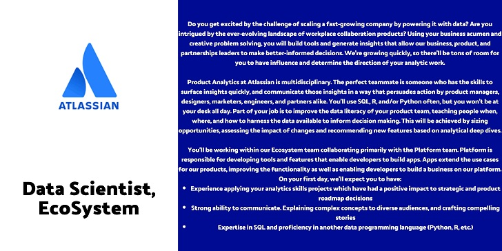 Atlassian Data Scientist, EcoSystem