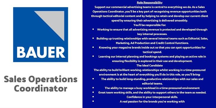 Bauer Sales Operations Coordinator