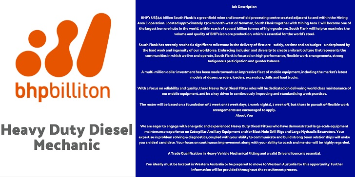 Bhp Billiton Heavy Duty Diesel Mechanic