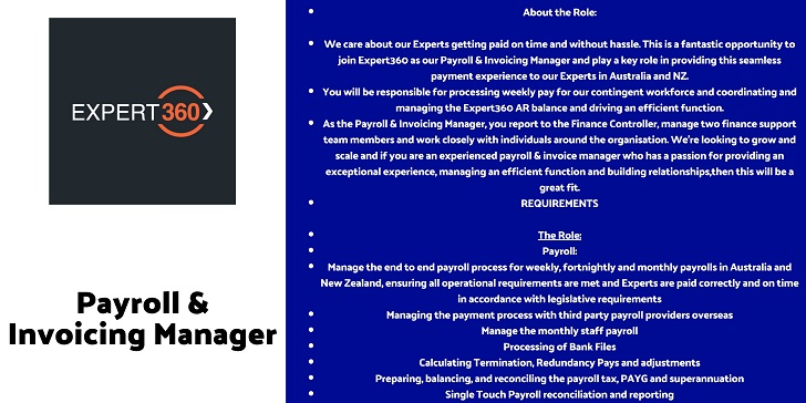 Expert360 Payroll & Invoicing Manager