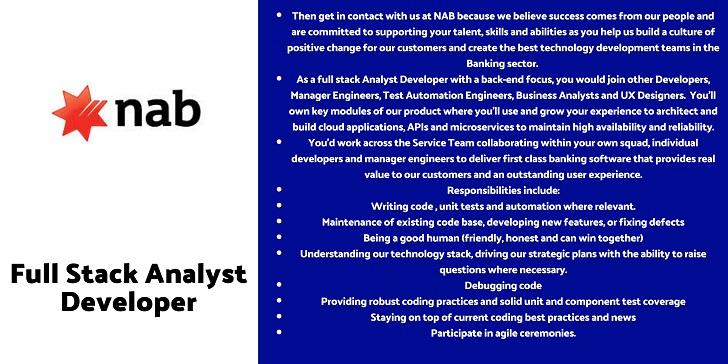 National Australia Bank Full Stack Analyst Developer