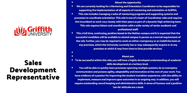 Griffith University Mentoring and Orientation Coordinator