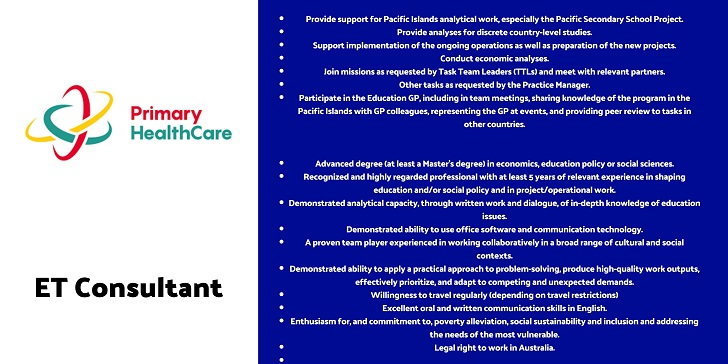Primary Health Care ET Consultant