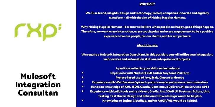 Rxp services Mulesoft Integration Consultant