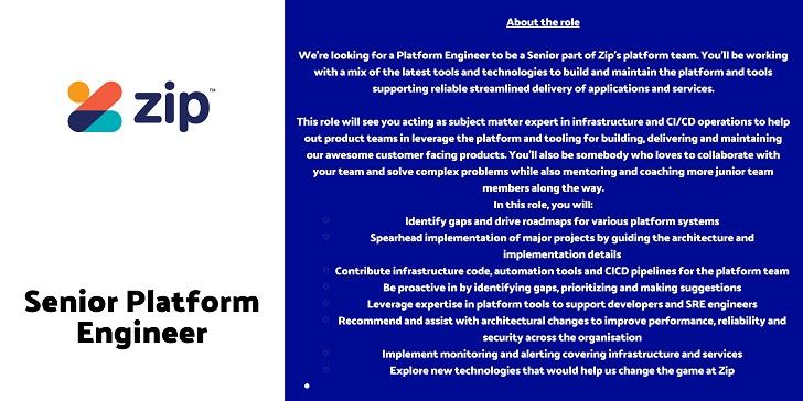 Zip Co Senior Platform Engineer