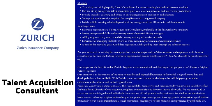 Zurich Insurance Talent Acquisition Consultant
