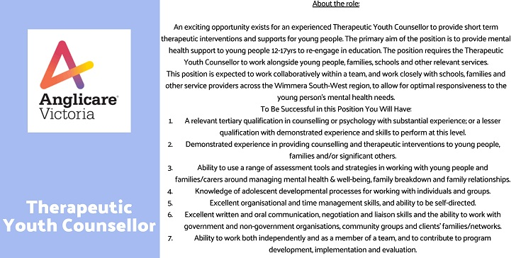 Anglicare Victoria Therapeutic Youth Counsellor