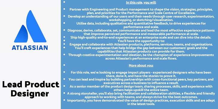 Atlassian Lead Product Designer