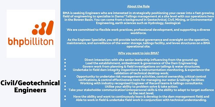 Bhp Billiton Civil/Geotechnical Engineers