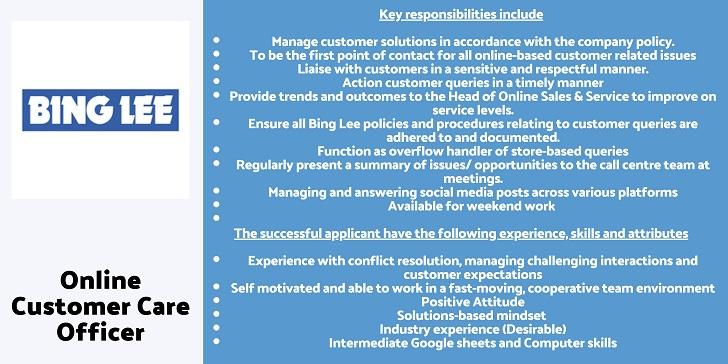 Bing Lee Online Customer Care Officer