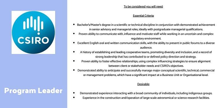 CSIRO Program Leader