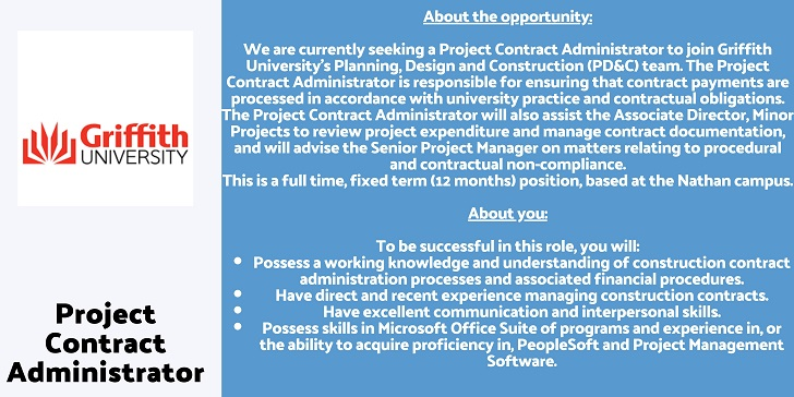 Griffith University Project Contract Administrator
