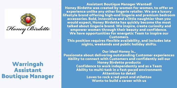 Honey Birdette Warringah Assistant Boutique Manager