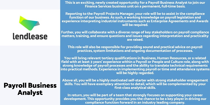 Lendlease Payroll Business Analyst