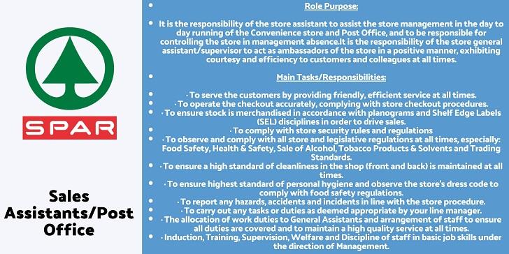 Spar Sales Assistants/Post Office