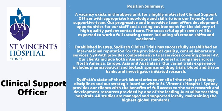 St Vincent's Hospital Sydney Clinical Support Officer