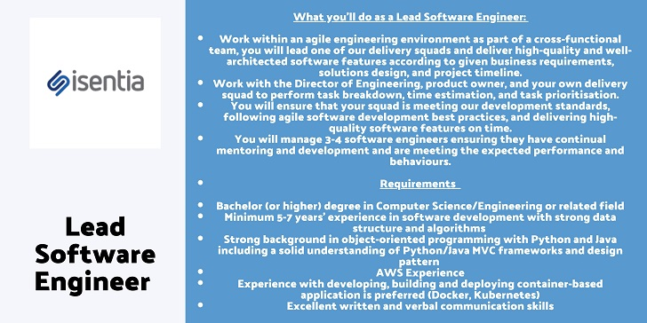 iSentia Lead Software Engineer