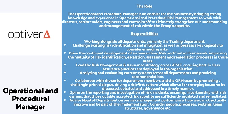 Optiver Operational and Procedural Manager